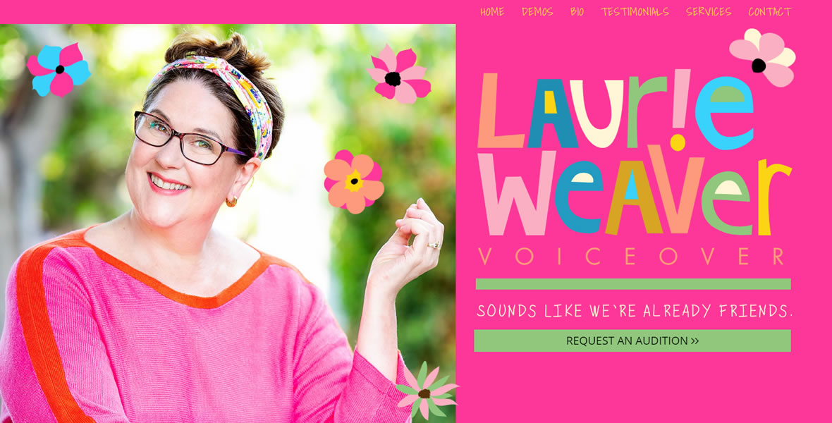 laurie weaver voice over logo design by biondo studio